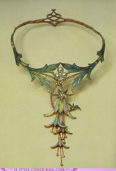Fuchsia Necklace designed by Alphonse Mucha design made by jeweler Gorges Fouquet in opal, cabochon sapphire, pearl, and gold (1905)