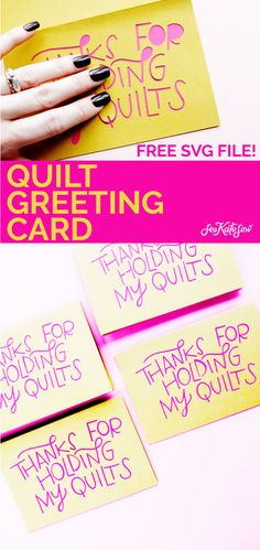 """This quilt greeting card says """"Thanks for holding my quilts"""" and is the perfect Valentine for that supportive person in your life who helps with crafts! Diy Beauty, Beauty Hacks, Cricut Tutorials, Hold Me, Funny Valentine, Blank Cards, Card Templates, Greeting Cards, Thankful"""