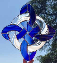 Celtic diamond knot stained glass sun catcher by Sweveneers, $30