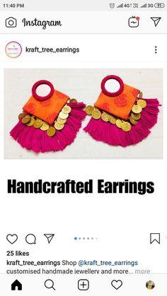 Diy Fabric Jewellery, Thread Jewellery, Textile Jewelry, Denim Earrings, Fabric Earrings, Handmade Jewelry Designs, Handmade Design, Saree Tassels Designs, Homemade Jewelry