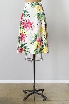 vintage 1940s tropical print cotton skirt