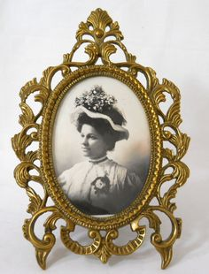Mod Dep Ornate Metal Frame With Miniature Oil Painting
