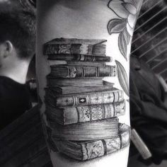 Hyperrealistic Stack of Books Tattoo Design