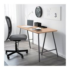HILVER / LERBERG Table, bamboo, gray bamboo/gray 55 1/8x25 5/8 IKEA Make a double desk and paint legs gold? Paint top white?