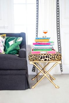 Society Social Official Photography // Beverly Palm Pillow // Faux Bamboo Footed Stool // Faux Bamboo Tray