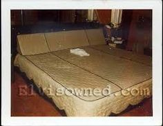 Elvis' custom made bed in his room, upstairs at Graceland