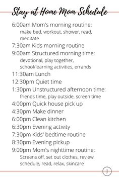 Your Perfect SAHM Schedule