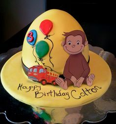 Curious George cake I created. Covered with marshmallow fondant. Find it at facebook.com/adashofwhimsy