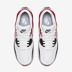 on sale 7c418 f7e8d Chaussure Nike Air Max 90 Pas Cher Homme Essential Blanc Noir Gris Loup  Rouge Universite