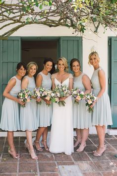 Pale Blue Bridesmaid Dresses | Maggie Sottero Bridal Gown | Chic Southern Spain Wedding at Casa Rosa | Planned & Styled by Rachel Rose Weddings | Lilac Flowers | Radka Horvath Photography | http://www.rockmywedding.co.uk/claire-lenny/