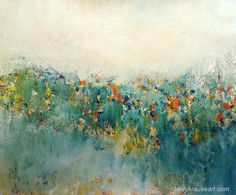 www.bettykrauseart.com, abstract landscape, blue, teal, flowers