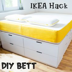 DIY bed - IKEA Hack - build your own plateau bed - bed made from Ikea dressers - DIY – IKEA Hack platform bed with lots of storage space under the mattress is created from severa - Ikea Chest Of Drawers, Ikea Dresser, Diy Dressers, Under Bed Drawers, Ikea Hack Bedroom, Bed Ikea, Ikea Dorm, Ikea Bedroom Storage, Cama Ikea