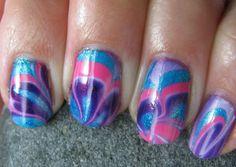 tie dye fingernails girls-hair-and-nails Love Nails, Fun Nails, Pretty Nails, Crazy Nails, Tie Die Nails, Water Marble Nails, Nail Photos, Cool Nail Designs, Pedicure Designs