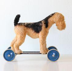 Vintage Terrier Dog on Wheels Ride On Toy Steiff by bellalulu