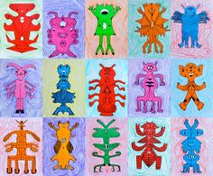 After the lesson on bilateral symmetry, we created these symmetrical monsters… Galaxy Crafts, Symmetry Art, Bug Art, 5th Grade Art, School Art Projects, Art Lessons Elementary, Middle School Art, Monster Art, Butterfly Art
