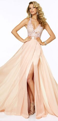 Open Back Floor-length Flowy Slit Lace Beading Prom Dress #promdress #balckless