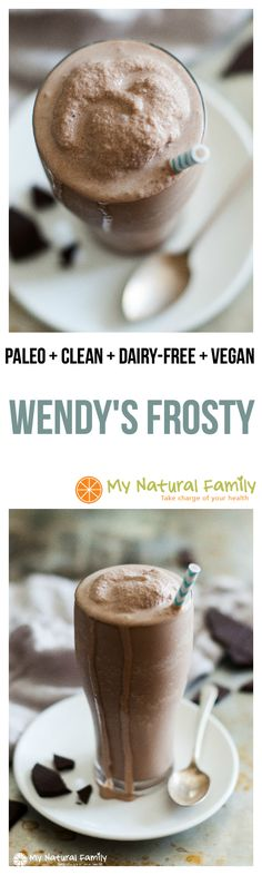 Wendy's Copycat Paleo Frosty This frosty recipe is quick, easy and tastes just like the real thing without all the questionable ingredients. - Wendy's Copycat Frosty Recipe Paleo, Clean Eating, Gluten Free, Dairy-FreeThe Effective Pictures We Offer Y Healthy Vegan Dessert, Paleo Sweets, Healthy Treats, Healthy Eating, Eating Clean, Clean Eating Smoothie, Quick Vegan Desserts, Quick Paleo Meals, Clean Eating Sweets