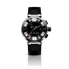 Tambour In Black digital analogic, 41.5 mm  via Louis Vuitton