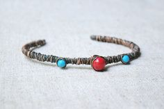Turquoise bracelet blue and red bracelet christmas by JD4dreamer, $24.00