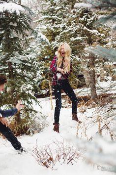 Snow ball fight. Cute couple. Blonde couple. Couple snow ball fight. Snow. Pines. Shop Masons. Rails la. Red plaid shirt. Denim jacket. Joe's. G-Star. Blogger. Fashion. xxBA.