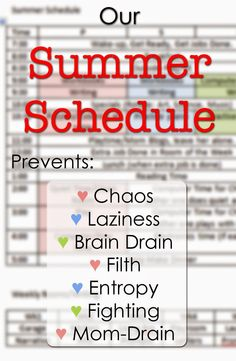 Create a family summer schedule that helps keep the fun in summer, brains in high gear, and plenty of free time for play. #pullingcurls