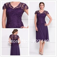 Online Hot 2017 Beautiful Elegant A Line V Neck Short Sleeve Lace Lique Purple Chiffon Tea Length Mother Of The Bride Dresses