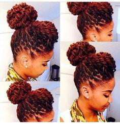 Natural hair updo with locs Dreadlock Styles, Dreads Styles, Braid Styles, Curly Hair Styles, Natural Hair Styles, Black Power, Coiffure Hair, Twisted Hair, Dreadlock Hairstyles