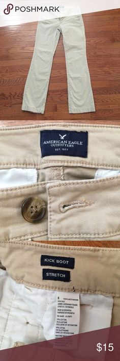 American Eagle khaki pants These boot cut khakis are in perfect condition. They have only been worn a couple times! American Eagle Outfitters Pants Boot Cut & Flare