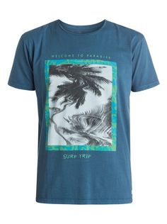 quiksilver, Garment Dyed Welcome T-Shirt, Dark Denim Hang Ten, Cool Graphic Tees, Cool Tees, Sperrys Men, Custom T Shirt Printing, Surf Outfit, Fashion Graphic, Polo T Shirts, Mens Tees