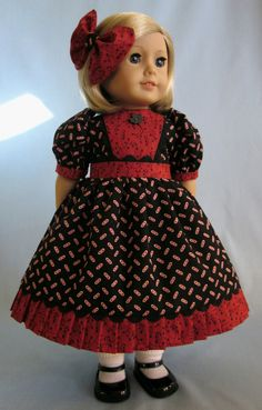 18 Inch Doll Clothes   Dress and Hair Bow in by SewMyGoodnessShop
