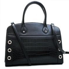 Dasein Croco Accented Fashion Satchel with Stud & Punchout Accents-Black