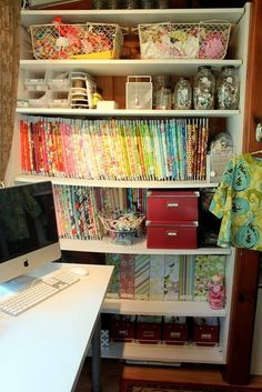 i WANT this sewing room... check out the link for more craft organization ideas