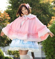 Sweet Pink Soft and Warm Lolita Lace Turn Down Collar Ruffled Winter Poncho Jacket with Fur Trimming Free Shipping
