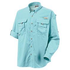 Columbia Bahama II Long Sleeve Shirt with Omni-Shade for Men - Gulf Stream - 12494902e6a