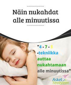 Näin nukahdat alle minuutissa Stressi voi tehdä #nukahtamisesta #mahdotonta. Siksi sinun on opittava tekniikka, joka auttaa sinua #nukahtamaan alle minuutissa. #Terveellisetelämäntavat Uni, Health Fitness, Relax, Wellness, Personal Care, Beauty, Random, Decor, Beleza