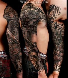 3D sword,skull and flying bird tattoo on whole arms