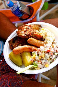 Typical Tongan BBQ plate. #TakapuFavorites #Raw Fish #BBQ #Kumala #PotatoSalad #Yum #LitasKitchen