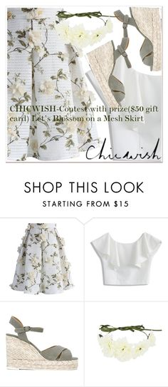 """""""CHICWISH-Contest with prize($50 gift card) Let's Blossom on a Mesh Skirt"""" by paculi ❤ liked on Polyvore featuring Chicwish and Castañer"""