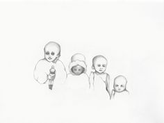 "Laura Stanziola, ""Mummified Children with Doll, Guanajuato, Mexico,"" drawing for the new journal, ""Paradise Lost,"" 2016."