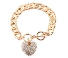Gold with Clear Iced Out Heart 8.5 Inch Cuban Link 12mm Toggle Bracelet - http://www.spiritualgemstonejewelry.com/gold-with-clear-iced-out-heart-8-5-inch-cuban-link-12mm-toggle-bracelet/