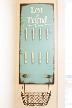 Lost & Found Board Sign Laundry Decor using clothespins for those missing socks; upcycle, recycle, salvage, diy, repurpose!  For ideas and goods shop at Estate ReSale & ReDesign, Bonita Springs, FL;