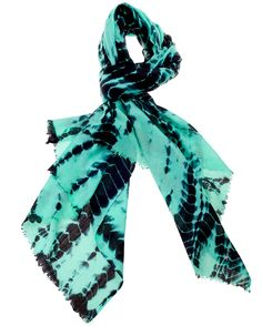 Mintaka Cashmere Scarf. Luxury cashmere with a contemporary twist.  These striking mint and black 100% cashmere Capella scarf/shawls have been created using an ultra-fine kashmiri diamond weave.  Hand-dipped and tie-dyed one at a time by the Kaistha family in Kashmir, India, every scarf is unique. £111 #cashmere #scarf #accessories #gifts #ideas #colourful