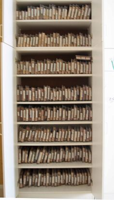 Stampin' Up stamp storage- place boxes vertically Craft Room Organisation, Scrapbook Room Organization, Scrapbook Storage, Scrapbook Rooms, Rubber Stamp Storage, Craft Paper Storage, Rooms Ideas, Space Crafts, Scrapbooking