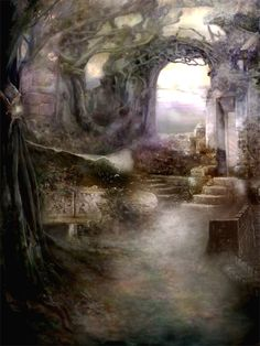 Fairy Garden, by Nicole Cys. this could be either Rivendell or Lothlorien