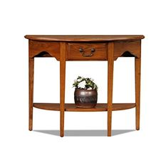 Charlton Home Apple Valley Console Table, Half-moon Shape, Medium Oak