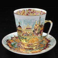 Exclusivo-Imperial-Rusa-Lomonosov-Porcelana-Taza-de-te-y-platillo-la-Primavera-De-Oro