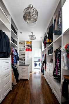 Transitional master closet.
