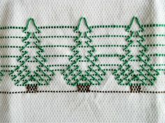 Huck embroidered Christmas trees: