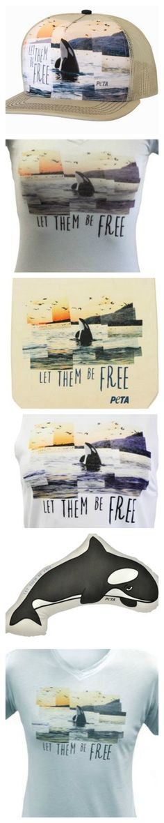 LET THEM BE FREE! Hate $eaWorld? Show off your love for orcas with PETA's gear. Including shirts, a tank top, tote bag, hat and orca pillow. #BoycottSeaworld #Blackfish