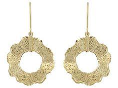 Splendido Oro(Tm) 14k Yellow Antico Cesello Gold Dangle Earrings   Made In Italy